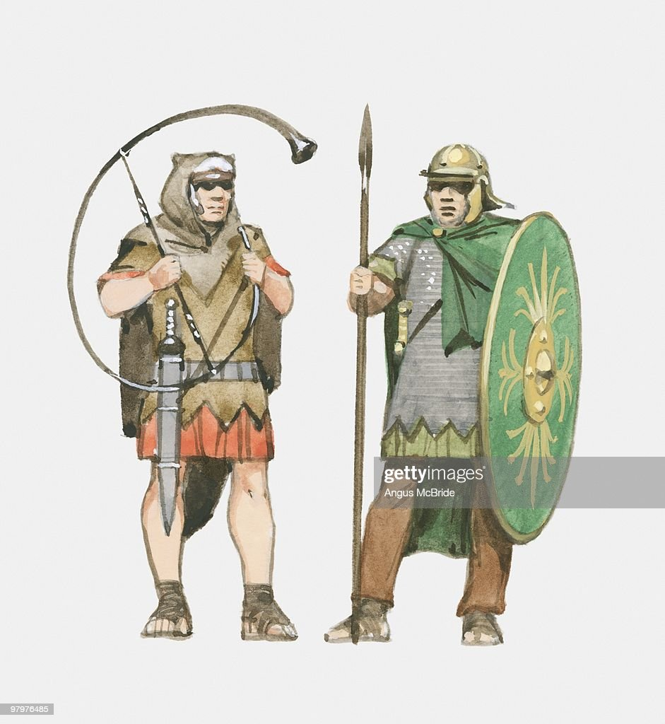 illustration of roman soldier holding horn and roman auxiliary