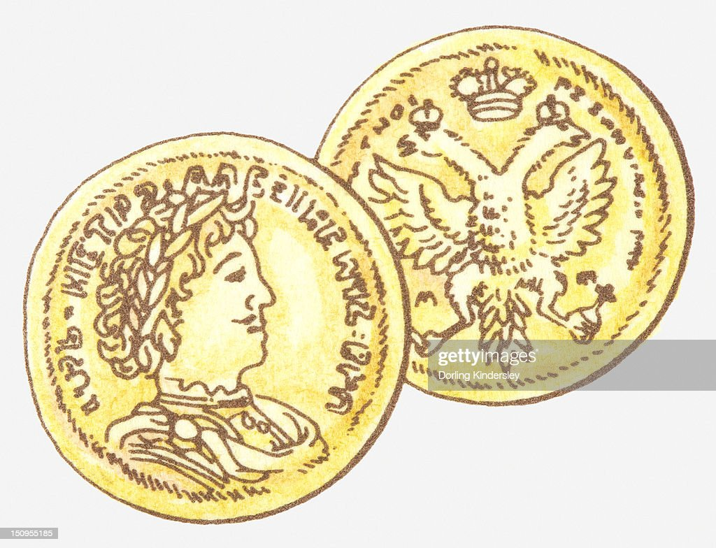 Illustration of Russian Imperial coin showing Russian Imperial coat of arms and on the obverse Peter the Great : Stock Illustration