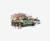 Illustration of Russian tanks and Soldiers during battle to lift the German siege of Moscow in 1943