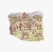 Illustration of Sami people with herd of Reindeer