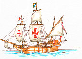 Illustration of Santa Maria, a four-mast carrack sailed by explorer Christopher Columbus