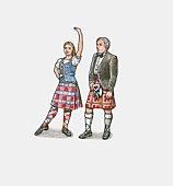 Illustration of Scottish dancers wearing tartan kilts