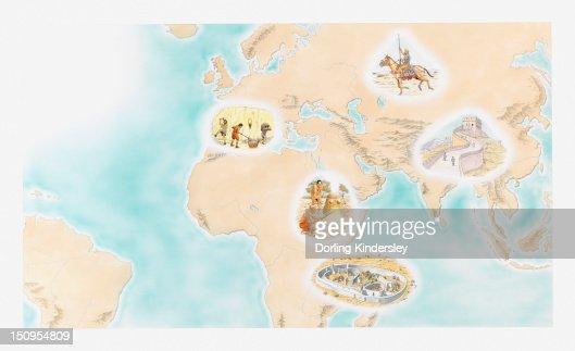 Great Zimbabwe World Map.Illustration Of Scythian Horsemen Great Wall Of China Great Zimbabwe