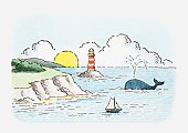 Illustration of seascape near the cost, with lighthouse, whale, small sailing boat and sun going down