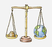 Illustration of set of scales with globe on one side and weights on the other