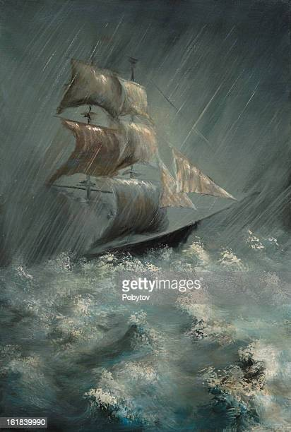 Illustration of ship in sea storm