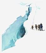 Illustration of Sir Edmund Hillary using Sherpas to carry supplies near crevasse