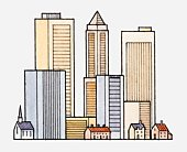 Illustration of skyscrapers towering over smaller buildings