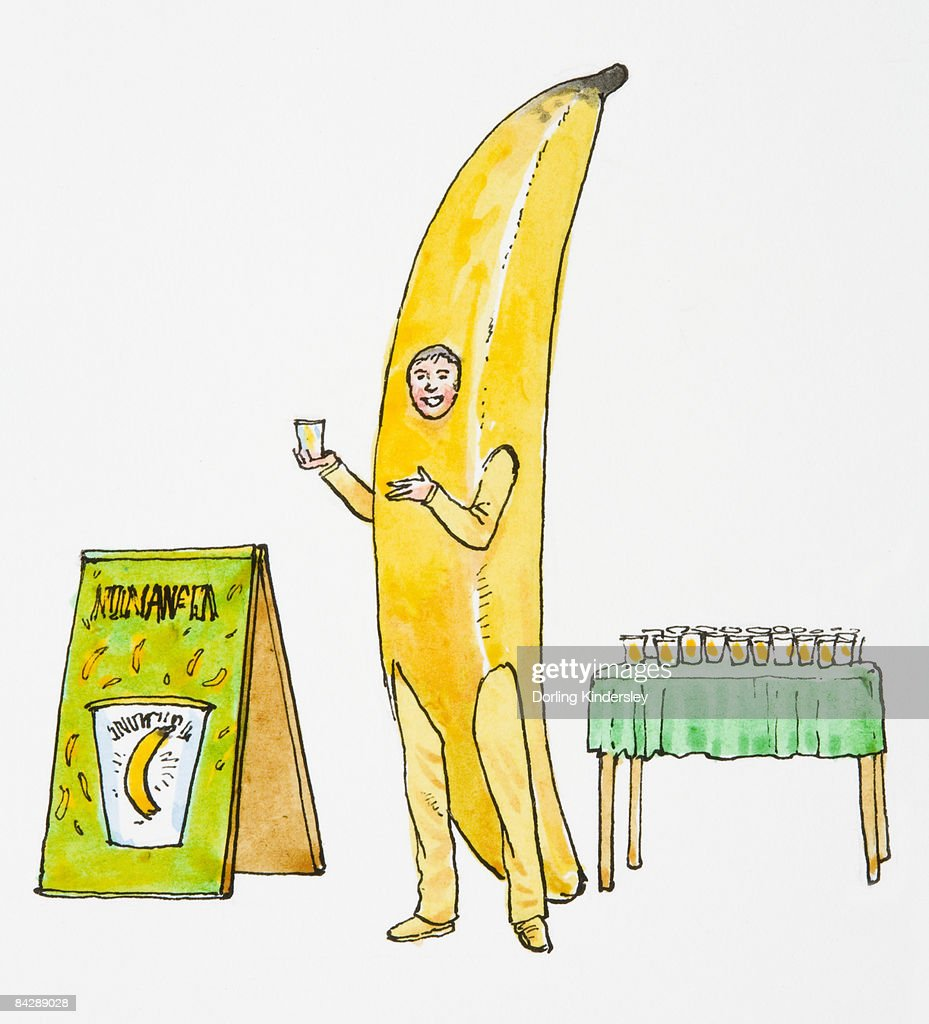 Illustration of smiling man wearing banana costume pointing at glass of juice held in hand  sc 1 st  Thinkstock & Illustration Of Smiling Man Wearing Banana Costume Pointing At Glass ...