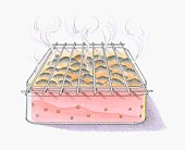 illustration of smoke rising from burning embers on garbecue grill