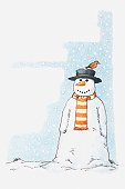 Illustration of snowman with robin perched on its hat