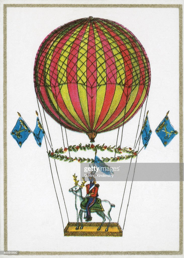 Illustration of soldier sitting on white deer standing on plank, hanging by ropes from air balloon  : Stock Illustration