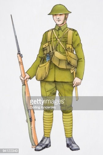 Illustration of soldier wearing uniform and holding rifle with bayonet : Stock Illustration