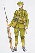 Illustration of soldier wearing uniform and holding rifle with bayonet
