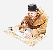 Illustration of Spanish monk sat at desk writing with quill on paper