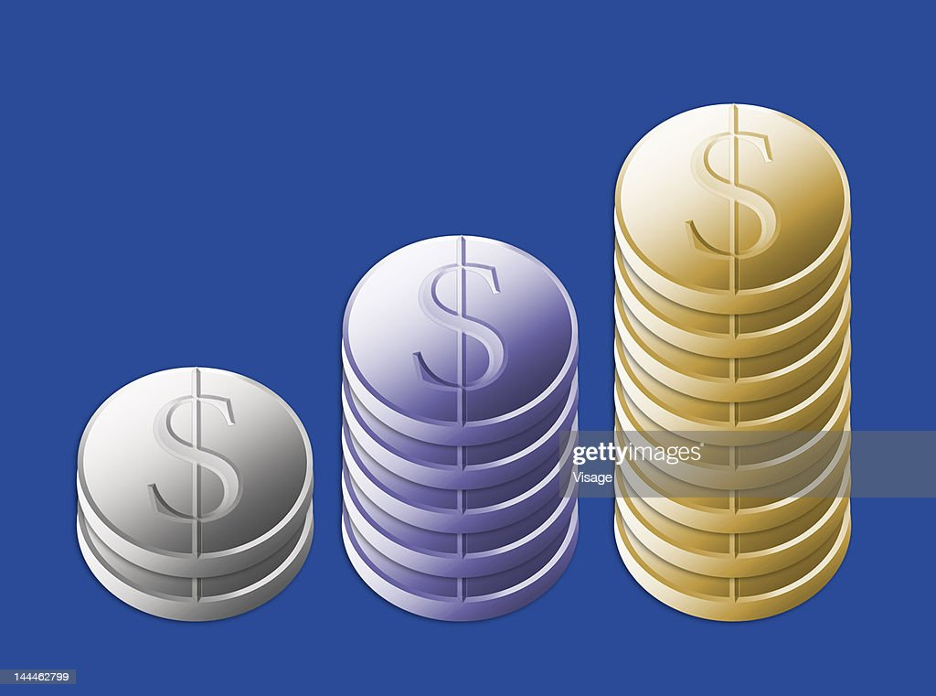 Illustration of stack of coins : Stock Illustration