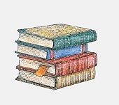 Illustration of stack of four hardback books