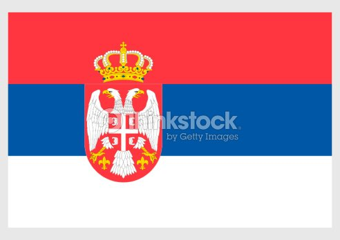 illustration of state flag of serbia with doubleheaded eagle and