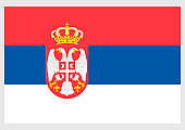 Illustration of State flag of Serbia, with double-headed eagle and crown at centre of horizontally divided red, blue and white rectangular defaced tricolor
