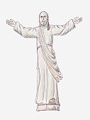 Illustration of statue of Christ on the Hill of Crosses or Kryziu Kalnas, Lithuania