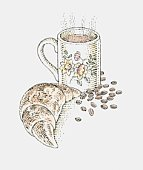 Illustration of steaming mug of coffee, croissant, and coffee beans