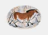 Illustration of stone age cave painting of dun horse at Lascaux