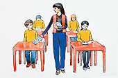 Illustration of teacher giving books to elementary students sitting at desks in classroom