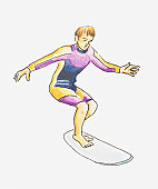 Illustration of teenage boy balancing on surfboard, wearing wetsuit