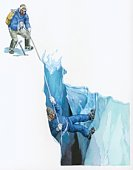 Illustration of Tenzig Norgay helping Edmund Hilary on their ascent to Mt Everest by securing safety rope at top of crevasse