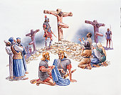 Illustration of The Crucifixion of Jesus and thieves at Calvary (Golgotha)