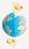 Illustration of the Earth spinning around its axis