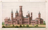 Illustration of the exterior of the Smithsonian Institute which was established by Congress Washington DC