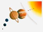 Illustration of the Sun, Mercury, Venus moon orbiting Earth, asteroid belt passing between Mars and Jupiter, and Uranus