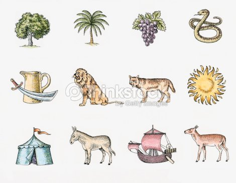 Illustration Of The Twelve Symbols Of The Tribes Of Israel The Sun