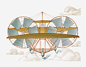 Illustration of Thomas Moy's tandem-wing monoplane Aerial Steamer, 1875