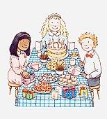 Illustration of three children sat around birthday party table