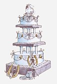 Illustration of three-tier wedding cake