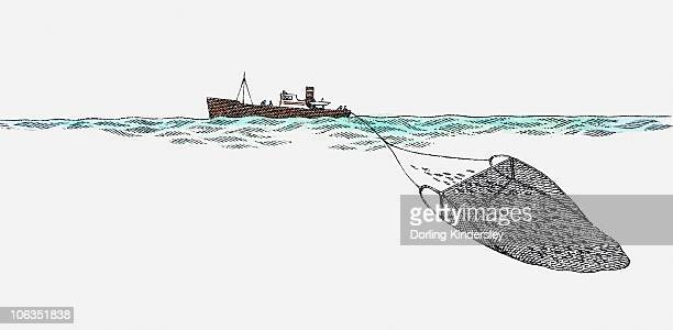 Illustration of trawler at sea dragging fishing net to catch fish
