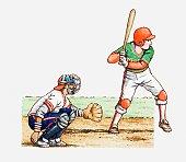 Illustration of two baseball players