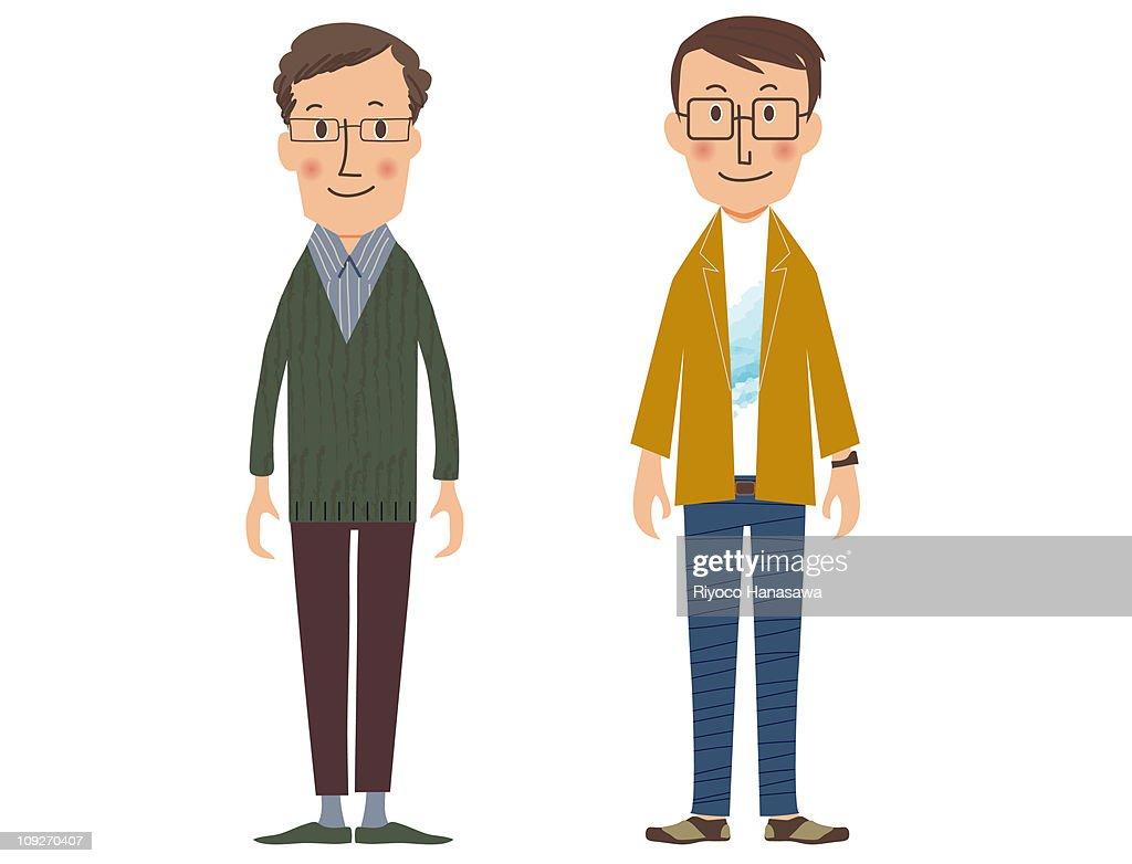 Illustration of two men standing side by side : Stock Illustration