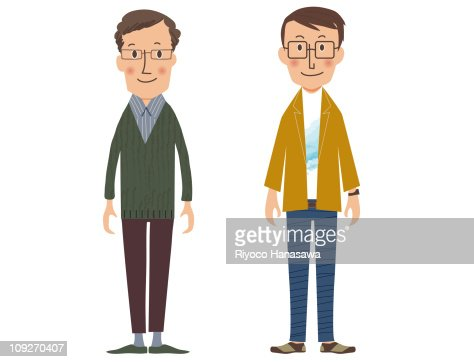 Illustration of two men standing side by side : Stock Illustration