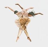 Illustration of two modern male ballet dancers