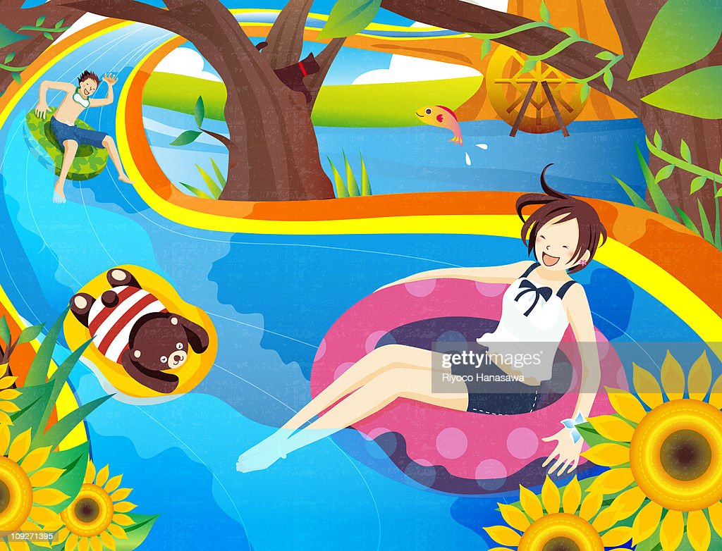 Illustration of two people and a teddy bear tubing down a river : Stock Illustration