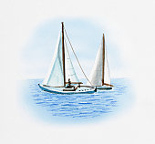 Illustration of two sailing boats on flat sea with absence of wind