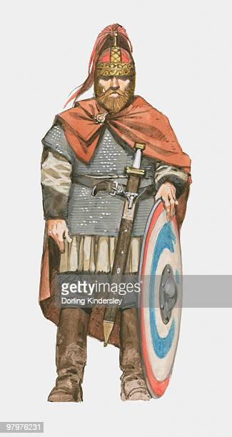 Illustration of Visigoth with sword and shield
