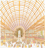 Illustration of visitors at Great Exhibition of 1851 inside Crystal Palace
