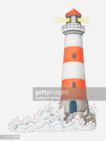 Illustration of waves splashing against a lighthouse : Stock Illustration