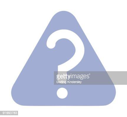 Illustration of white question mark inside blue triangle : Stock Illustration