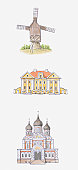 Illustration of windmill in Kuressaare, Palmse Manor in Lahemaa and the Alexander Nevsky Cathedral in Tallinn, Estonia