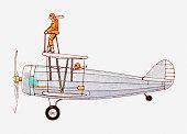 Illustration of wing walker on a biplane